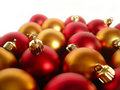 Gold and Red Xmas Balls Royalty Free Stock Photos