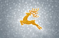 Gold reindeer moose jumping on snow background