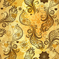 Gold repeating pattern stylized birds vintage flowers hearts vector eps Royalty Free Stock Photo