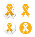 Gold ribbon childhood cancer symbol ribbons set isolated on white vector Stock Photography