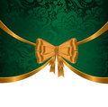 Gold ribbon on green ornament elegant festive background with ribbons and Royalty Free Stock Photography