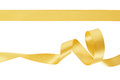 Gold ribbon set on whte clipping path included Stock Image