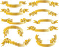 Gold ribbons set Royalty Free Stock Photos