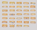 Gold rings golden set isolate on white Stock Images