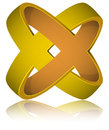 Gold Rings Impossible Figure Icon Sign. Royalty Free Stock Photo