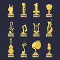Gold rock star trophy music notes best entertainment win achievement clef and sound shiny golden melody success prize