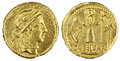 Gold Roman Coin Stock Photo