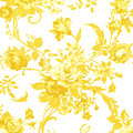 Gold rose on white fabric background, Fragment of colorful retro Royalty Free Stock Photo