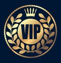 Gold round VIP rubber stamp style icon with crown and wreath of Royalty Free Stock Photo