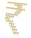 Gold rupee signs d render and silver isolated on white and clipping path Royalty Free Stock Photos