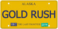 Gold rush alaska license plate an imitation with december stickers and written on it making a great concept words on the bottom Stock Image