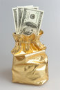 Gold sack full of dollars on gray Royalty Free Stock Photos