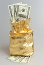 Gold sack full of dollars on gray Stock Photography