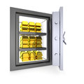 Gold a safe full of ingots Stock Images