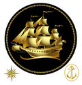 Gold sailing ship Royalty Free Stock Image