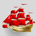 Gold sailing ship with red sails on gray background Royalty Free Stock Photo