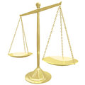 Gold scale perfect balance a with both sides in Stock Photography