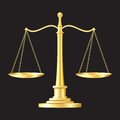 Gold scales icon Stock Photo