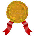 Gold seal with red ribbon award Stock Photo