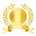 Gold seal ribbon and laurel Royalty Free Stock Image