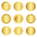 Gold seal stamp collection set of different approval badge and rosette shapes isolated on white Royalty Free Stock Image