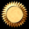 Gold seal starburst star with black background Stock Images