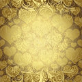 Gold seamless valentine pattern bright with translucent hearts vector eps Royalty Free Stock Images