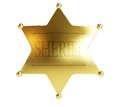 Gold sheriff s badge on a white background Royalty Free Stock Photo