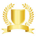 Gold shield ribbon and laurel Royalty Free Stock Image
