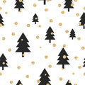 Gold shimmer glitter polka dot and black tree seamless pattern vector foil abstract circles texture sparkle balls forest Stock Photo