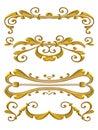 Gold Shiny Flourish Designs Royalty Free Stock Image