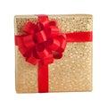 Gold shiny paper wrap gift box red ribbon present christmas birthday Royalty Free Stock Photo
