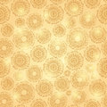 Gold shiny seamless pattern with round elements abstract background Stock Image