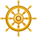Gold ship wheel vector illustration of separate layers for easy editing Royalty Free Stock Image