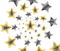 Gold shooting stars in spiral on black background Royalty Free Stock Photos