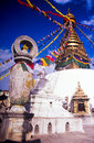 Gold shrine called a stupa in kathmandu nepal Stock Image