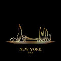 Gold silhouette of New York on black background