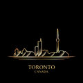 Gold silhouette of Toronto on black background Royalty Free Stock Photo