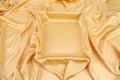 Gold silk drapery close up whole background Stock Image
