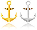 Gold and silver anchors Royalty Free Stock Photography
