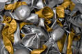 Gold and silver balloon deflated Stock Images