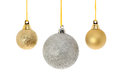 Gold and silver baubles Royalty Free Stock Photos