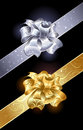 Gold and silver bow Stock Photography