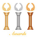 Gold silver and bronze award column with laurel wr wreath for jubilee text or competition winner over sun rays background vector Royalty Free Stock Photos