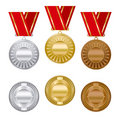 Gold silver and bronze award medals set Royalty Free Stock Photo