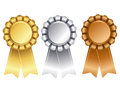 Gold silver and bronze award ribbon elegant badges in empty space for add your own text in center Stock Photography