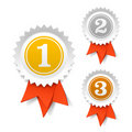 Gold, silver and bronze award ribbons Royalty Free Stock Images