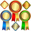 Gold, silver and bronze awards Stock Images