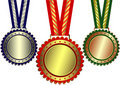 Gold, silver and bronze awards Stock Image