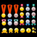 Gold, Silver, Bronze Contest Awards icon sets. Creative Icon Des Royalty Free Stock Images